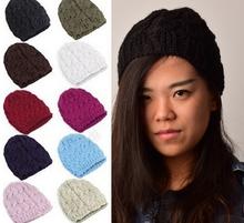 free shipping# Fashion 8 Colors Warm Winter Women Beret Braided Baggy Beanie Hat Ski Cap(China (Mainland))