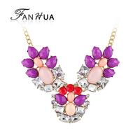 Created Gemstone Jewelry Colares Femininos Luxury Designer Bijoux Multicolor Rhinestone Chains Statement Necklaces Pendants
