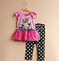 Wholesale New 2015 children summer set minnie girls clothing sets girls minnie sets pink short sleeve tutu lace dress+leggings
