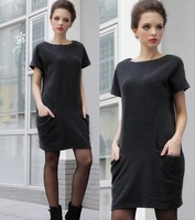 High quality sell like hot cakes Summer autumn Winter woolen Dress Casual Pocket Jersey Dresses For Women M L XXXL