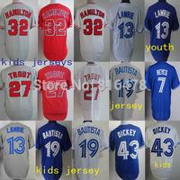 Cheap baseball youth jersey 19 Jose Bautista 13 Brett Lawrie 43 R.A Dickey 7 Jose 32 Josh Hamilton 27 Mike Trout kids  jersey