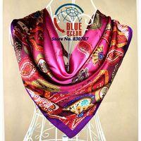 Free Shipping! 2014New Arrival Brand Design Satin Big Square Scarf Cashew Printed 4 Colors,Women Silk Scarf,Handkerchief 90*90cm