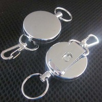 20pcs/Lot Metal Retractable Reel Key Card Badge Holder Steel Cord Belt Clip Anti-Lost with Hook
