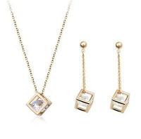 Popular Zirconia Jewelry for Women Crystal Jewelry Set Gold Dangle Earrings Silver Necklace & Pendants ML-317