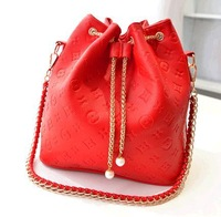 Hot Sale New 2014 Fashion PU Leather Handbags Chain Shoulder Bag Women Embossed Messenger Bags Black Beige Red Pink Green Colors