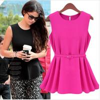 Free Belt  Fashion 2014 Summer Spring Casual Women Chiffon Dress Pleated Sleeveless Office Lady Short Mini Blouse T Shirt vest