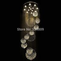 Free shipping new modern 11PCS lustre crystal ball design chandelier large lustres de cristal lights D80*H300cm guarantee 100%