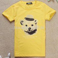 Free shipping 2014 summer new children's short-sleeved cotton T-shirt Korean Kids Boys casual  bear printing colorful c3-456