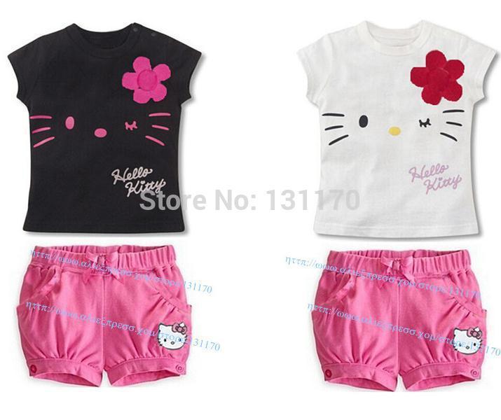 Retail New 2014 cartoon children clothing set,cat dress T-shirt+pink bow pant & legging,hello kitty baby kids Pyjamas infantis(China (Mainland))