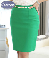 Spring Summer Pencil Skirts Ladies Black White color Big Size XXL Knee-Length Solid Formal Skirt 2014 Women's Saia Femininas