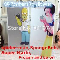 200pcs DHL Mix 40 designs Ultra Thin Slim Matte case For iphone 4 4s 5 5s 5c Transparent Simpson homer Snow White princess Cover