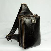 2014 New Vintage Casual Genuine Leather Oil Wax Leather Cowhide Men Chest Bag Messenger Bag Shoulder Bag Bags For Men Y8361