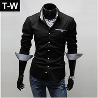TUTS14200, Hot sale 2014 Men's fashion casual slim fit stylish,mens dress shirts male long sleeve leisure shirts,free shipping