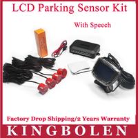 2014 New 4 Sensors English Human Voice LCD Parking Sensor Kit Real Person Speech 22mm Car Reverse Backup Radar System 12V