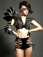 Free shipping 2014 Sexy Costumes fashion lady gaga female singer ds costumes rivet habergeons armor costume performance set