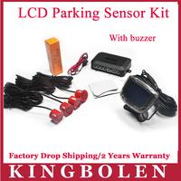 2014 New 4 Sensors 22mm Buzzer LCD Parking Sensor Kit Display Car Reverse Backup Radar Monitor System 12V 7 Colors Free Shipping