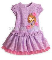 2014 Newest Sofia Girls Hollow Pattern Dress Short Sleeve Skirt Girls Purple Lace Skirt Dresses With Flower