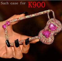 women lady fashion rhinestone rose butterfly case for Lenovo K900 mobile phone