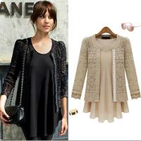 2014Women Sweater Western Style Crochet Hollow Out Loose Knitwear Cardigan Coat Plus Size Xl Black Beige Free Shipping Xzs140702