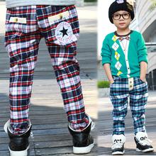 1 PCS Retail!!Hot sale !! children leisure pants grid boy's harem pants autumn cotton kid's trousers free shipping BKZ002(China (Mainland))