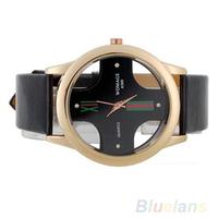 New wrist watch men Stylish Skeleton Dial Faux Leather Analog Wristwatches 03TJ