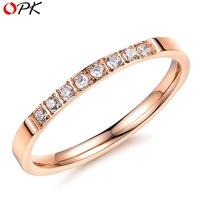 OPK JEWELRY Brand Designer Elegant Rose Gold CZ diamond Ring for Wedding/ Anniversary Fashion Women Accessory, 412