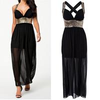 2014 New Summer Dress Women Vestidos Halter Black Sexy Hollow Out Back Sequined Party Dress Long Maxi Chiffon Dress 9110