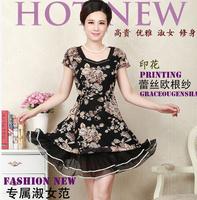 L-5XL New Arrival 2014 summer Women Dress One-piece Dress Short-sleeve Plus Size Clothing Print Lace  Diamond DressTop Quality