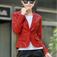 M-4XL 2014 Fashion Spring And Autumn Women's Genuine Leather Single Leather Motorcycle Clothing Water Washed Leather Small Suit