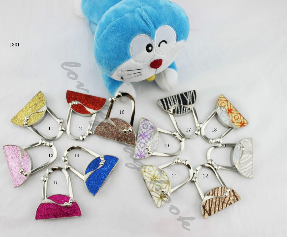 (12PCS/LOT) free shipment jewelry fashionL801shining glitter half round shape purse handbag hook bag hanger holder hook bag hook(China (Mainland))
