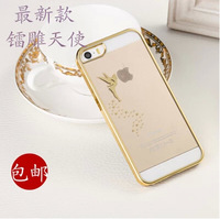 Fashion Angel Pattern Ultra Thin Plating frame Transparent Case cover for iphone 5 5g 5s Phone case,Free screen protector
