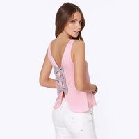 2014 NEW ARRIVAL Free Shipping Women Summer Sleeveless Shirt Back Bows Hollow Out Knitting Shirt Sleeveless Shirt