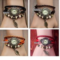 Womens Antique Leaf Bracelet Wrap Wrist Watch Quartz Movement Watches More Color Choice