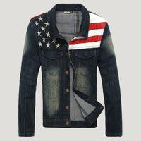 man spring 2014 American flag jean denim veste homme jaqueta chaqueta hombre Jacket for men jaket coat casaco man overcoat