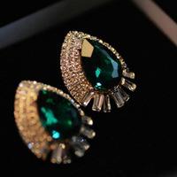 Canlyn Jewelry ( 2 pairs/lot ) Teardrop Imitation Gemstone Crystal Stud Earrings Brincos for Women CE052