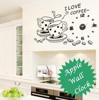 [listed in stock]-120x60cm(47x23.6in) I Love Coffee Tea Wall Quartz Acrylic Clock Sticker Kitchen Decoration (BD1202)