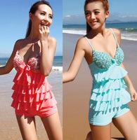 New Sexy Push Up Rose Bra Swimsuit with Shorts Plus Size Tankini Set Women Swimwear M/L/XL/XXL