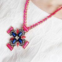 Cross Shourouk Acrylic Gem Gold Drop Choker Collar Chunky Statement Necklaces & Pendants Fashion Jewelry Women Wholesale N113