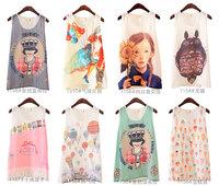 2014 new Women Sweet blusas Fashion Cartoon Printed round neck Blouse chiffon vest chiffon spaghetti strap vest shirt