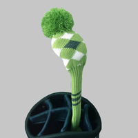 Green/Black pom pom Golf head cover, Argyle style, For Fairway  wood head , Number Tag #3,  Free shipping
