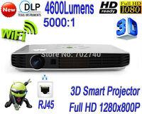 HOLATEK New 4600 lumens 3D Wifi Smart Projector  LAN Free shipping