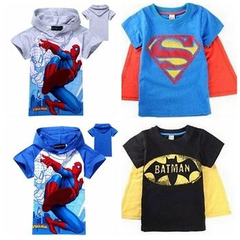 2014 baby boys t shirt Superman Batman Kids 3D cartoon Короткий Рукавs Детский Футболка ...