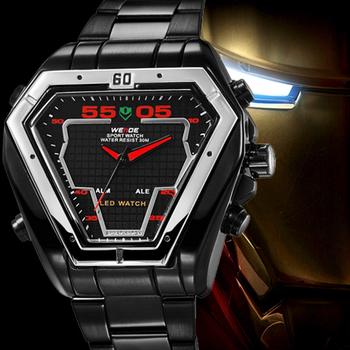 Weide мода спорт погружение часы из нержавеющей стали из светодиодов часы мужчины цифровой двойной дисплей сигнализации 30 м водонепроницаемый прямая поставка