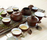 Purple Clay Tea Set  Chinese Kungfu Tea Service Grit Teapot. 12pcs/set. Yixing Clay Gaiwan,50ml Cups Free shipping !!!