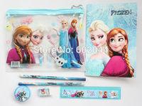 New Sale 12 Sets cute Stationery Set / large stationery bags  7 IN 1  pencils/pencil sharpener/pen bag/eraser/ruler/notebook