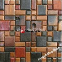 Natural wood parquet mosaic wall tile NWMT115 wooden mosaic TV background wood tiles backsplash mosaic sheets