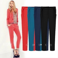 2014Summer Women's Plus size XXL Black\Red\Dark Blue\Light Blue Polyester casual Straight Full Pants new Europe&America Style