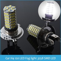 Wholesale Car LED Fog Lights Car 120 LED 3528 SMD H4 White Fog light Driving Parking Light Auto LED Lamp Bulb Drop SHIPPING