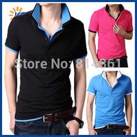 Hot Sale 2014 New Style Mens Turn-down Collar Slim Fit T-shirt Short Sleeve Cotton Fashion Brand Men Casual Tshirt Free Shipping