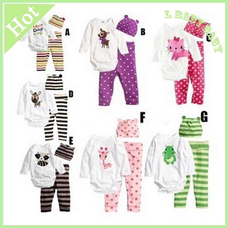 2014 cotton children cartoon cartoon baby boys girls sets clothes 3pcs(Long-sleeved Romper+hat+pants)children clothing AHY001(China (Mainland))